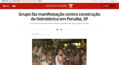 G1 / TV Tribuna erra e diz que Peruíbe vai ter Usina Hidrelétrica