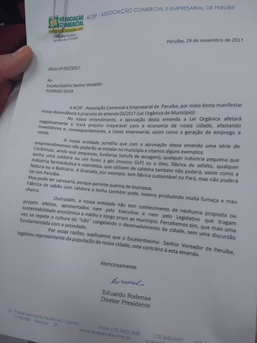 ACEP pede para vereador votar contra lei que impede industrias poluentes em Peruíbe