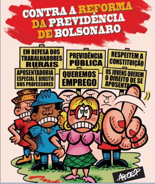 """Charges: APEOESP divulga cartilha """"Contra a reforma da previdência de Bolsonaro"""""""
