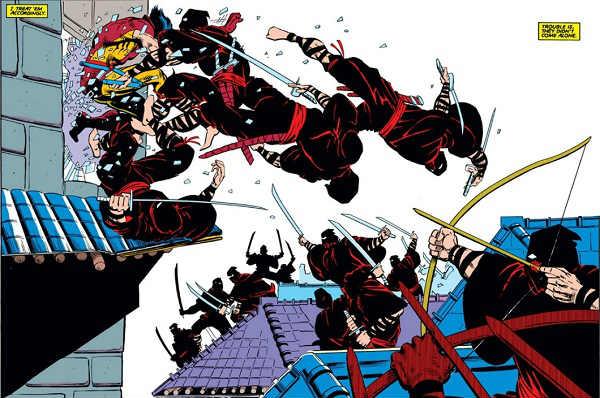 Wolverine saltando da janela com alguns ninjas