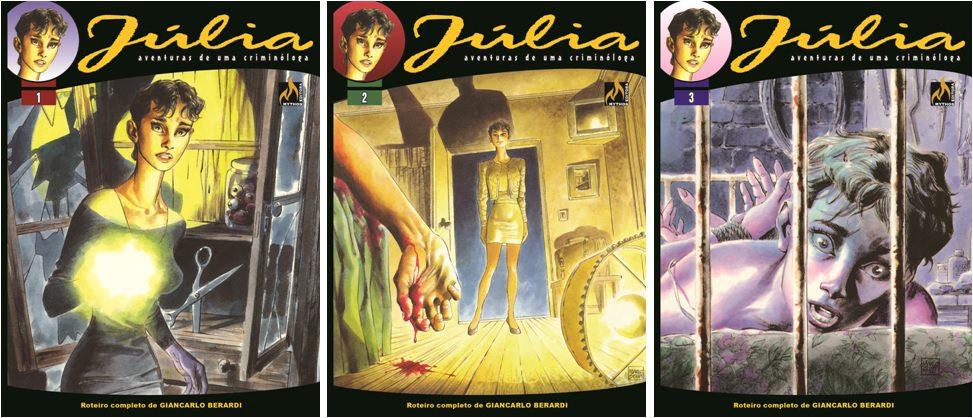 Capa-das-três-primeiras-edições-de-Júlia-Kendall
