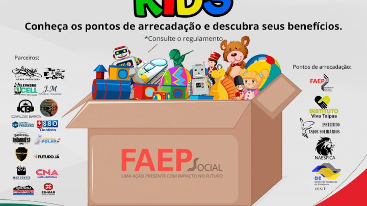 FAEP promove ação solidária em prol das crianças em parceria com artista Bonga Mac